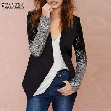 DCCKFV3 Women Thin Jacket Coat 2017 Spring Autumn Long Sleeve Lapel Fashion Silver Black Sequin Elegant Slim Work Blazers Suit feminino