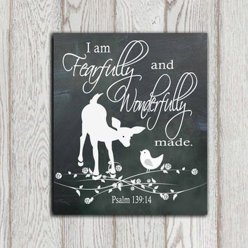 Christian scripture print Psalm 139:14 Bible verse I am fearfully Chalkboard wall art Black white fawn Bird Woodland animal decor DOWNLOAD
