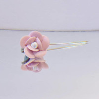 Vintage Pink Rose Stick Pin Feminine Retro Romantic Floral Jewelry Fashion Accessories For Her