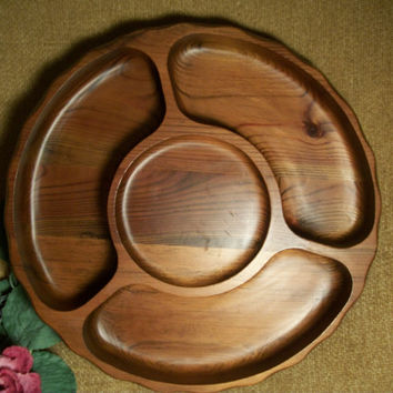Black Walnut Wood Lazy Susan Sectional  Hors d'oeuvres Dish, Rotating Lazy Susan with Pedestal Party Buffet Entertaining Serving Tray