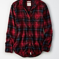 AE Ahh-Mazingly Soft Flannel Boyfriend Shirt, Burgundy
