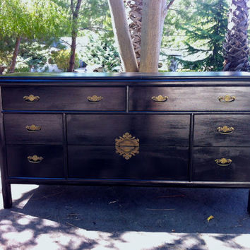 1960s Hollywood Regency Black Chinoiserie Dresser by Century Furniture
