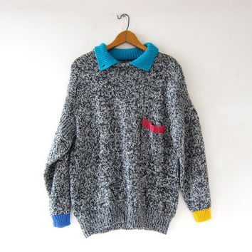 Vintage 80s sweater. Speckled black + white sweater. Oversized sweater. Colorblock sweater.