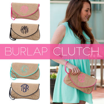 Monogrammed Burlap Clutch Bag / Monogram Burlap Crossbody Clutch Bag