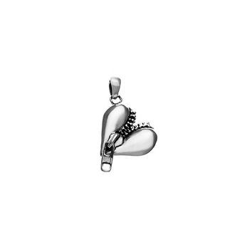 Rebel Punk Zipper Heart Sterling Silver Charm