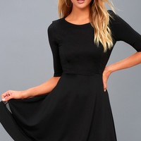 Sheer Factor Black Mesh Skater Dress