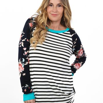 Floral Contrast Tunic   S-XL