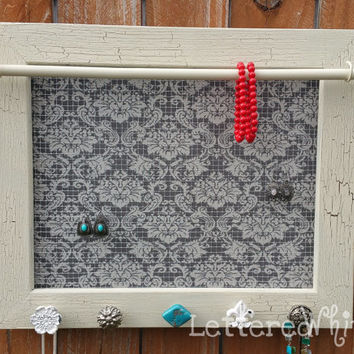 Framed Jewelry Holder, Mesh Earring Holder, Ivory Antiqued Frame, Gray Damask with Decorative Knobs