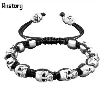 Skull Bracelet Woven with Smiley Skull Beads