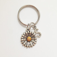 Sunflower keychain  - flower keychain - silver keychain - initial keychain - personalized keychain - customized - best friend - gift