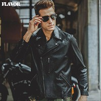 Men's black real leather motorcycle jacket Genuine Leather jackets coat Men bomber jacket