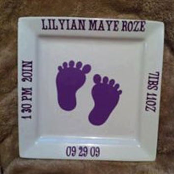 Personalized Monogrammed Baby/Child Birth Announcement Plate