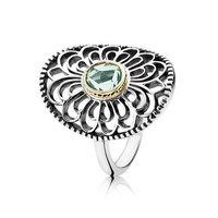 PANDORA Vintage Allure Green Synthetic Spinel Two-Tone Ring