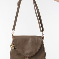 Fold Over Tassel Crossbody - Taupe