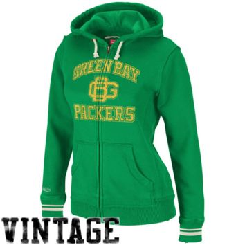 Mitchell & Ness Green Bay Packers Ladies Green Arch Rivals Full Zip Hoodie Sweatshirt