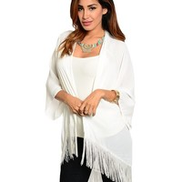 Pick Size White Sheer Chiffon Long Batwing Kimono Cardigan Fringe - Thumbnail 1 White Sheer Chiffon Long Batwing Kimono Cardigan Fringe Independent Designer medium by Dani Nicholle