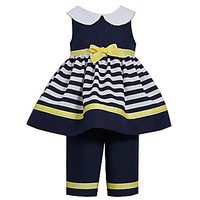 Bonnie Baby 12-24 Months Sleeveless Natutical Dress & Capri Set - Navy