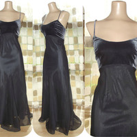 Vintage 90s Retro 30s Charcoal Gray Organza Bias Harlow Gown 10 M/L Sexy Gatsy Formal Dress
