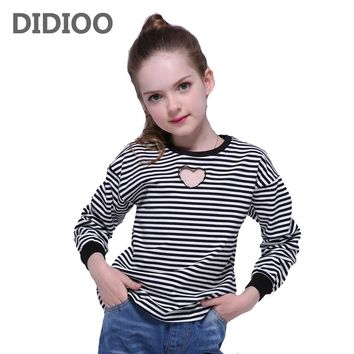 Kids T-Shirts For Girls Tops Long Sleeve Striped Girls T-Shirts Cotton Casual Heart Children Tees Spring Autumn Bottoming Shirts