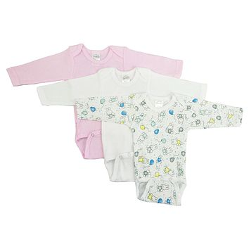 Bambini Girls' Long Sleeve Printed Onesuit Variety Pack