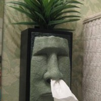 Tiki Head Tissue Box Cover - Green Face with Black Sides