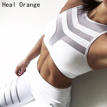 2018 Woman Sport Bra Top Women Crop Top Cropped Padded Bra Tank Top Vest Fitness Stretch Push Up Women'S Mesh Tanks Workout Bras