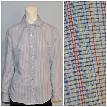 Vintage Women's Plaid Wrangler Button Down Shirt Blouse Top Peter Pan Collar Long Sleeve Red White Blue and Green Size 13  Patterned Retro