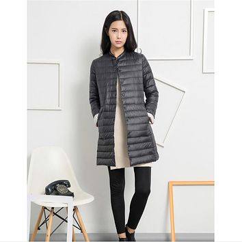 Casual Ultralight Down Coat Women Winter Jacket Women's Down Jackets Long Thin Down Coat A957