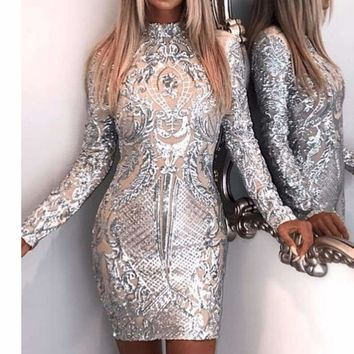 Silver High Neck Long Sleeve Sequin Elegant Party Mini Dress