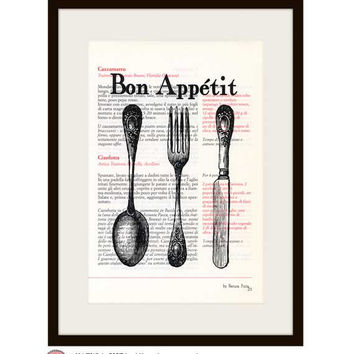 Kitchen Wall Art -Bon Appetit quote book print - Limited edition Prints on vintage Italian cookbook - cutlery book print-by NATURA PICTA N01