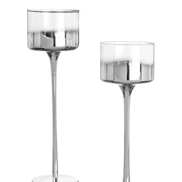 "Set of 2 Metallic Silver Glass Candle Holders - 10-12"" Tall"