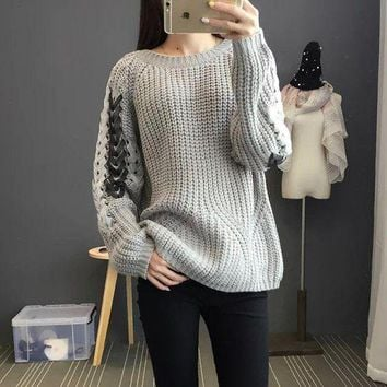 DCCKXT7 Personality Ribbon Bandage Hollow Knit Long Sleeve Round Neck Sweater Women Tops