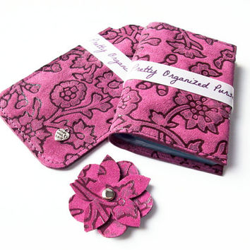 Gift Set 2pcs: Purple Leather Credit Card Holder and Iphone 5 Sleeve