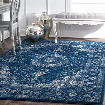 20020 Navy Blue Distressed Persian Oriental Area Rugs