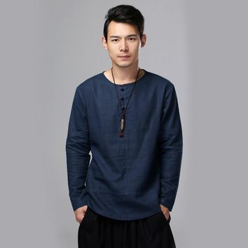 2017 Traditional Chinese Tops Spring Autumn Men Shirt Long Sleeve Solid Flax Blouses Linen Ethnic Blusas Camisa Masculina Gomlek