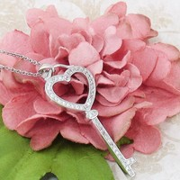 Shimmering Heart Key Necklace