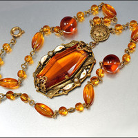 Art Deco Czech Glass Necklace Enamel Pearl Gold Gilt Vintage 1920s Art Deco Jewelry Topaz