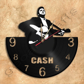 Johnny Cash Wall Clock Vinyl Record Clock home decoration housewares Upcycled Gift Idea