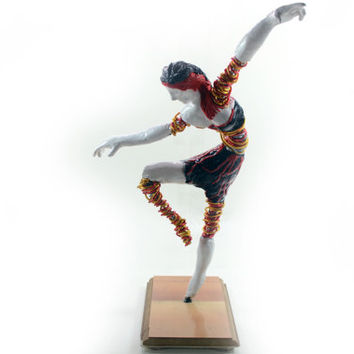 Fire Dancer - An Original Wire and Polymer Clay Abstract Sculpture of a Dancing Woman - On a Wood Base with Felt Pads