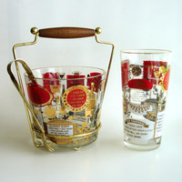 Vintage Ice Bucket and Shaker, Jeannette Glass Ice Bucket, Bacardi Drink Recipes, Red Gold, Mixer, Mid Century Modern 1950s Retro Barware