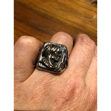 Vintage 1980's Native American Chief Silver Stainless Steel Men's Ring