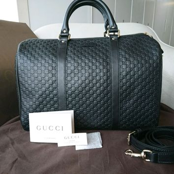 Gucci Microguccissima leather handbag GG Boston bag black