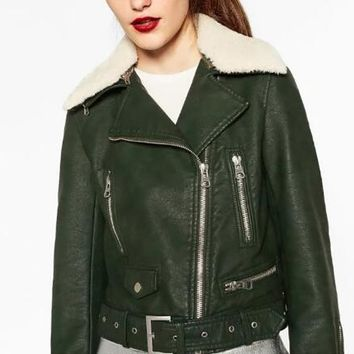Fashion Woman Bottle green Faux leather jacket with detachable faux fur lapel collar Zippers pockets cuffs hem belted