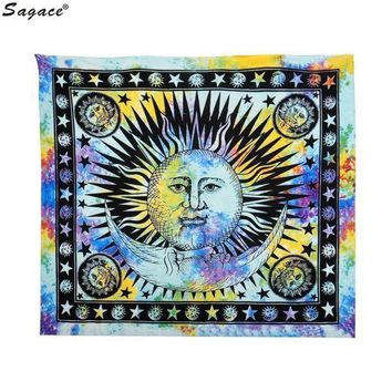 Trendy Celestial Sun Hippy Tapestry Wall Hanging Throw Boho Window Doorway Curtain Beach Bikini Cover Up Shawl Pashmina Aug18