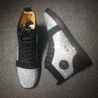 Cl Christian Louboutin Rhinestone Mid Strass Style #1907 Sneakers Fashion Shoes - Best Deal Online