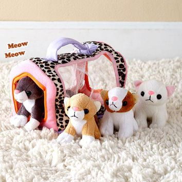 Meowing 4 Kitten Playset Kitty w/Case Toddler Developmental Toy Plush Loveable
