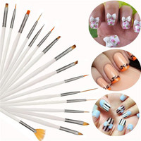 2017 Professional 16pcs Nail brushes set Nail Polish UV Gel Nail art Paint Design Pen Makeup tools Pincel maquiagem White