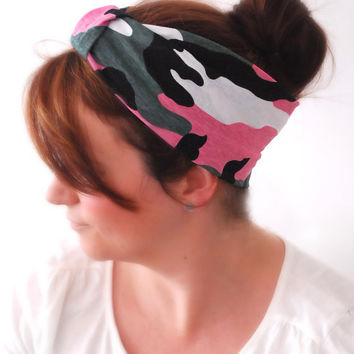 Camo PINK Wide stretchy Sparrow headband Comfortable Gym Headband Army print with Pink