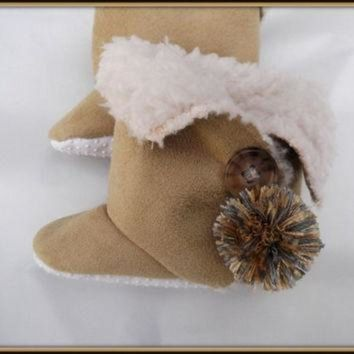 CHEN1ER Toddler Baby Ugg Style Boots Children's Trendy Booties Faux Suede Sherpa