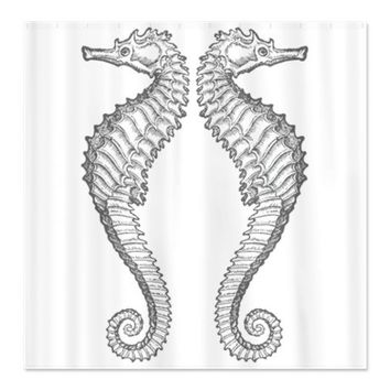 Vintage Seahorse Shower Curtain on CafePress.com